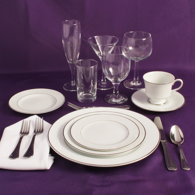 Rent White & Platinum Place Setting